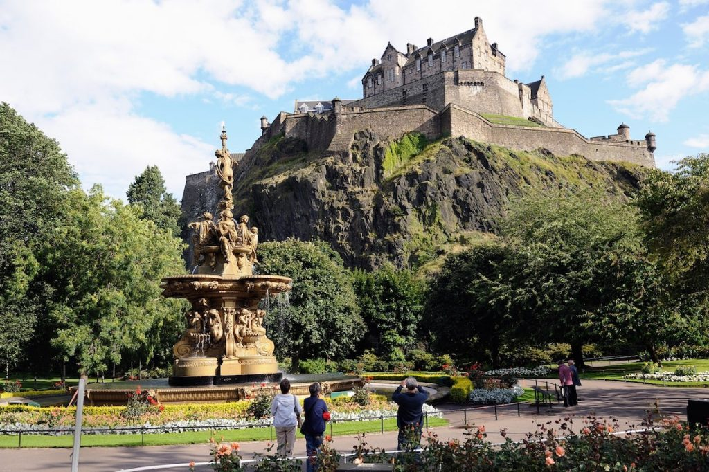 Edinburgh Castle seen from the West Princes Street Gardens