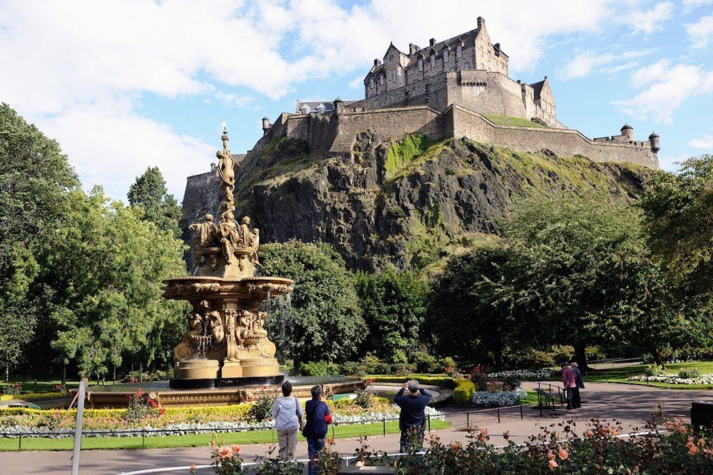 Edinburgh Castle seen from the West Princes Street Gardens