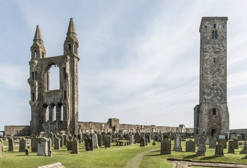 The ruins of St Andrew's Cathedral, in Fife