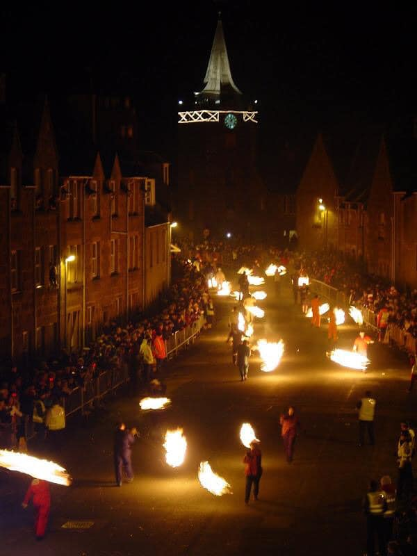 During Hogmanay in Scotland, the Fireballs Procession in Stonehaven is quite the spectacle