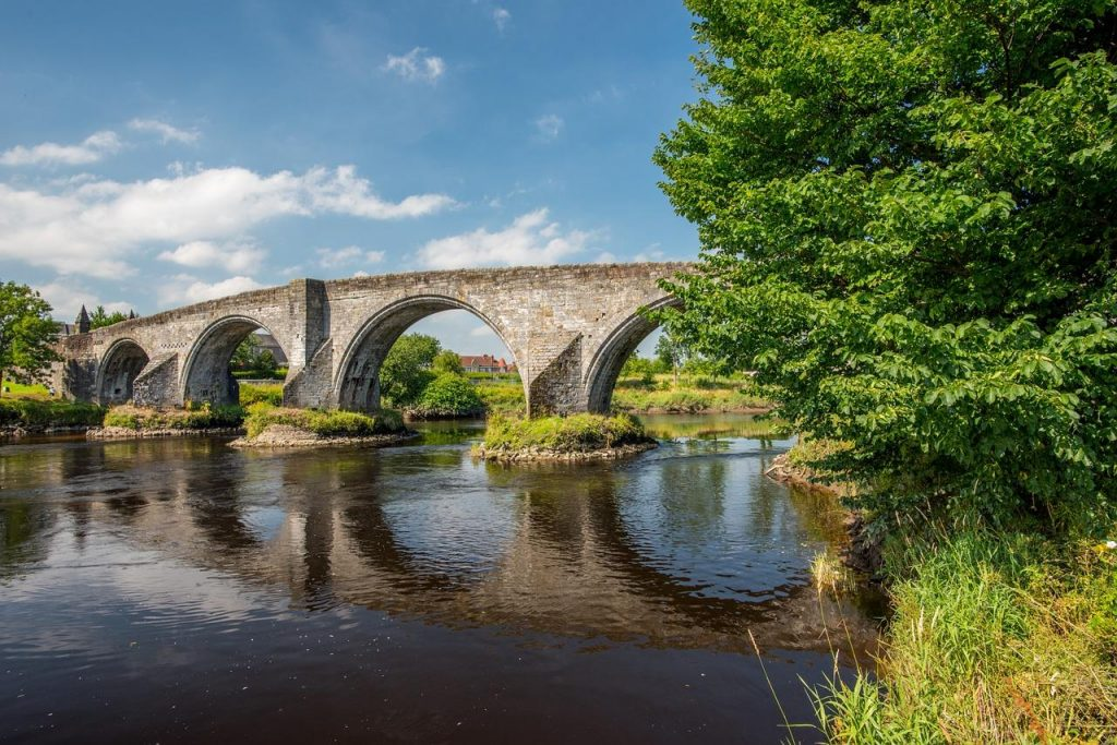 Stirling Bridge on a sunny day in Scotland