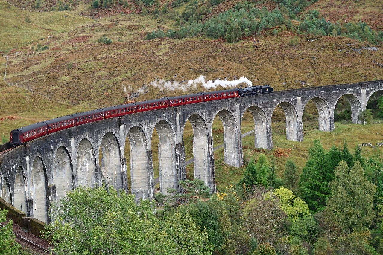 The Glenfinnan Viaduct in the Scottish Highlands