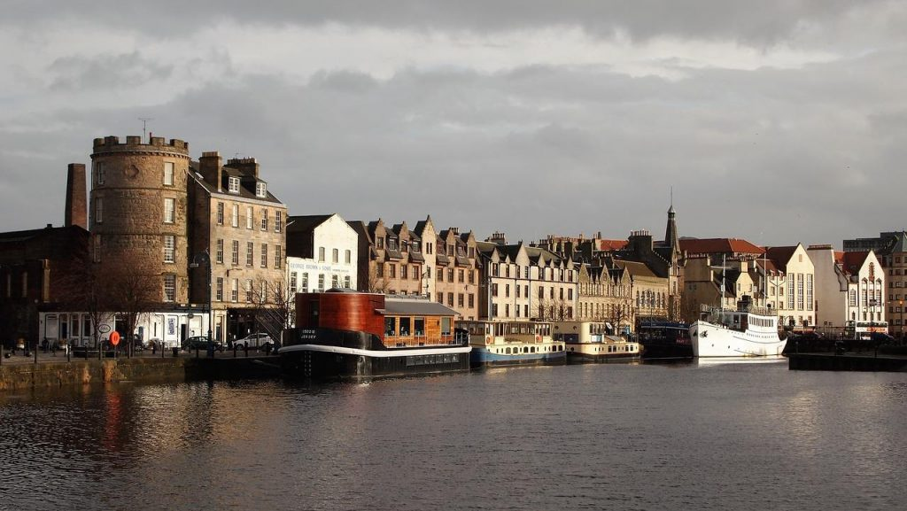 Leith area of Edinburgh in Scotland