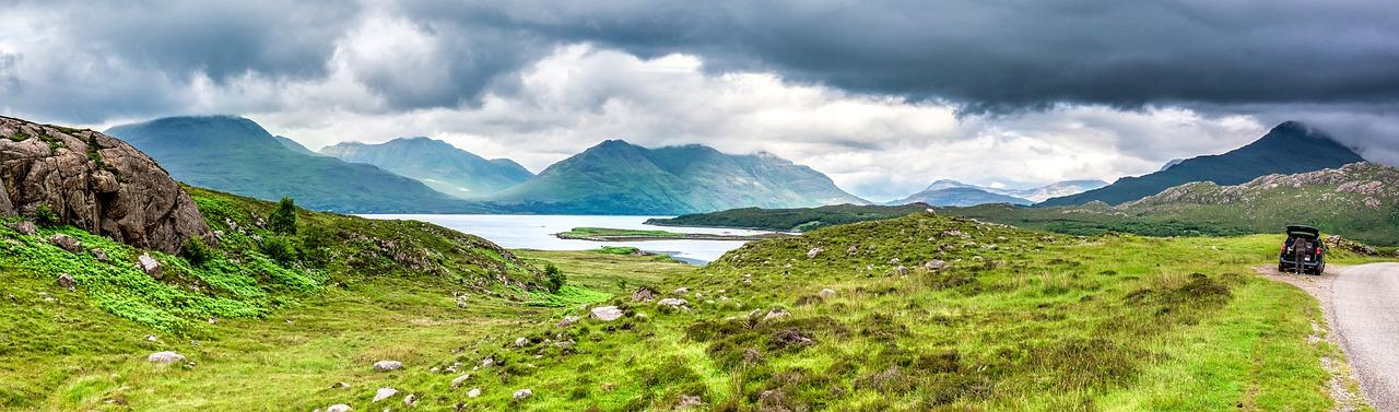Panoramic shot of the Scottish landscape