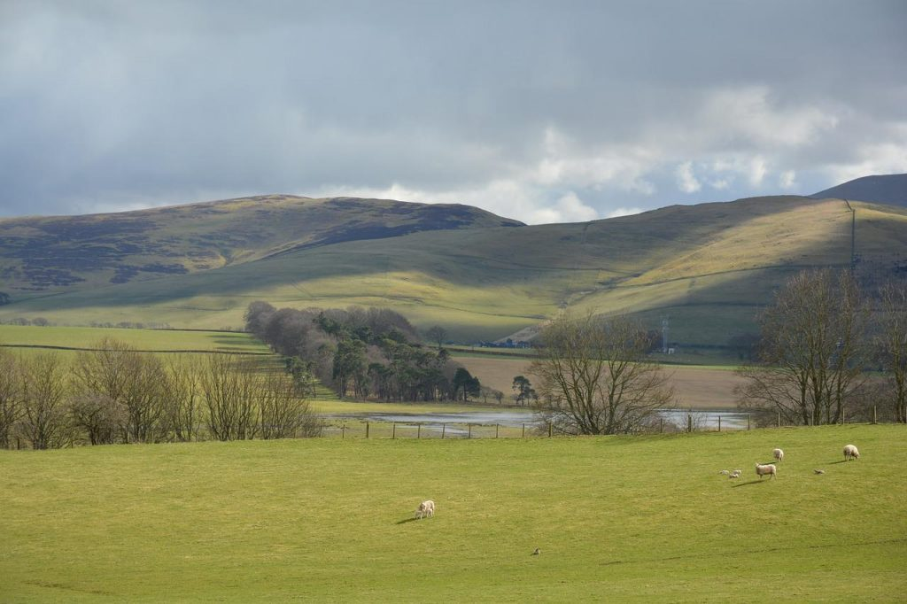Landscape shot of Scotland in spring