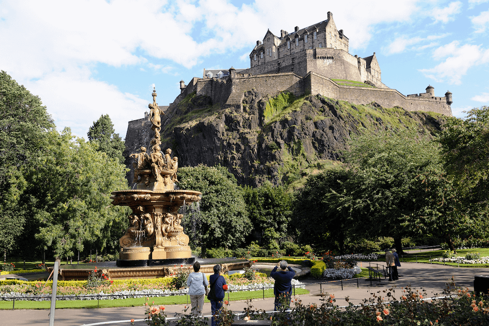 View of Edinburgh Castle from West Princes Street Gardens