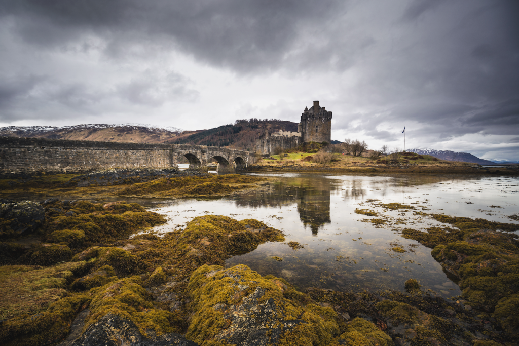 The medieval Eilean Donan Castle on Loch Duich shore