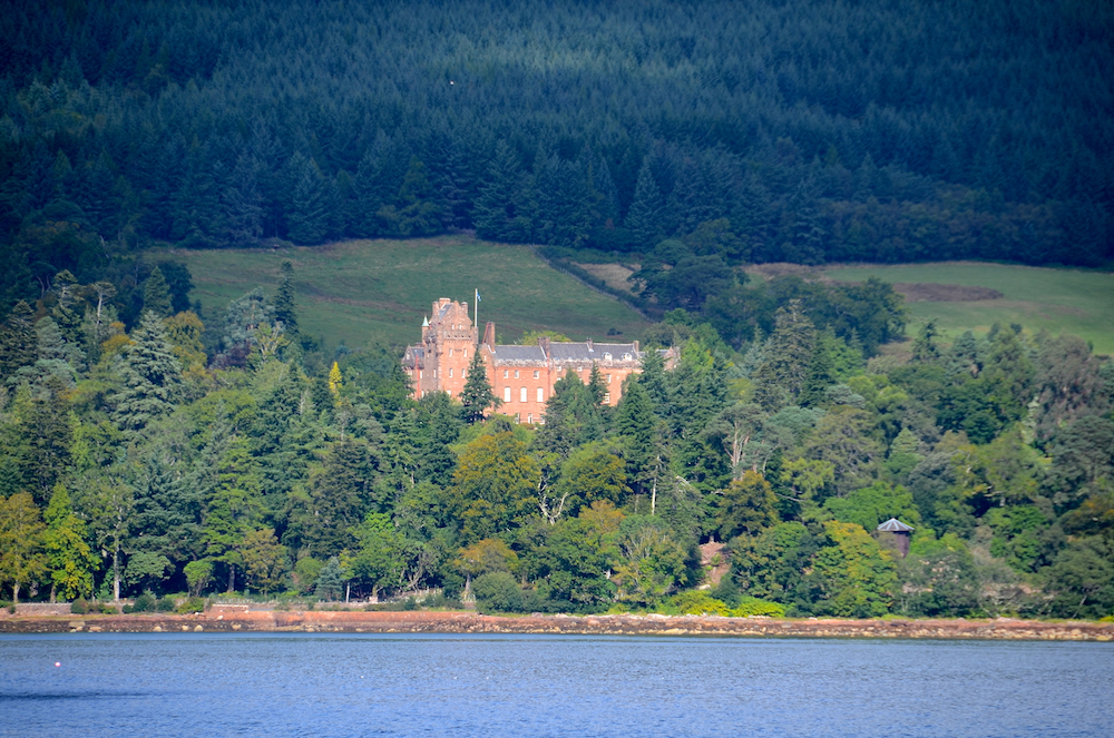 Brodick Castle, on the Isle of Arran, seen from the ferry