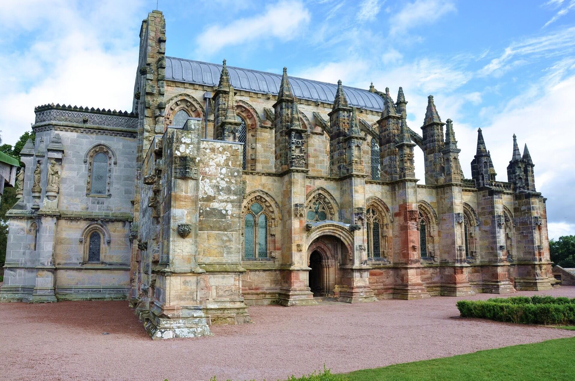 exterior of Rosslyn Chapel near Edinburgh in Scotland