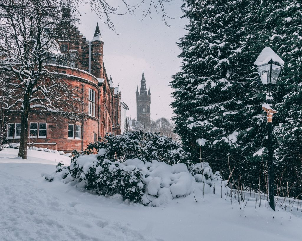 A snow-covered University of Glasgow